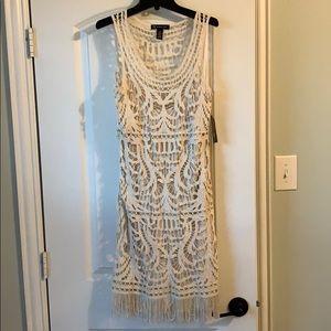 Gorgeous cream colored mesh dress w/ slip dress
